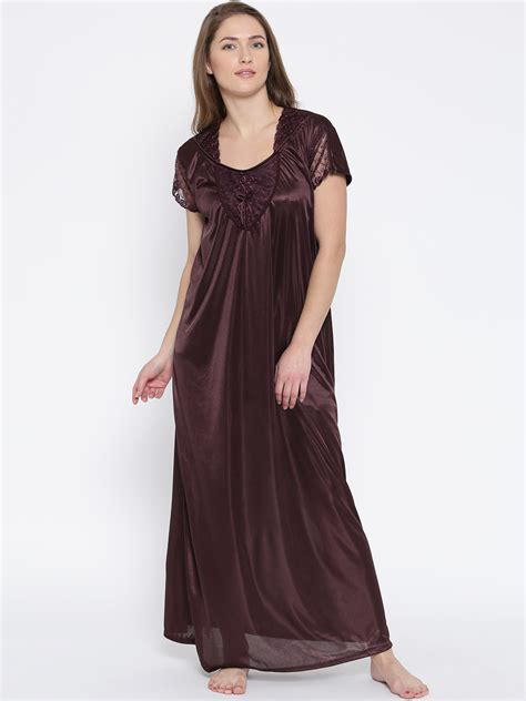 Maxi Shiren Set Maroon 3in1 buy klamotten burgundy satin maxi nightdress xx90 nightdress for myntra