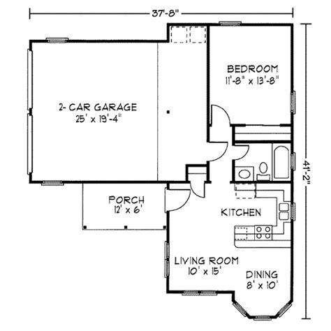one bedroom floor plans with garage cottage style house plan 1 beds 1 baths 582 sq ft plan