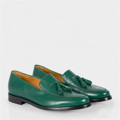 green loafers paul smith stevenson tasseled saffiano leather loafers in