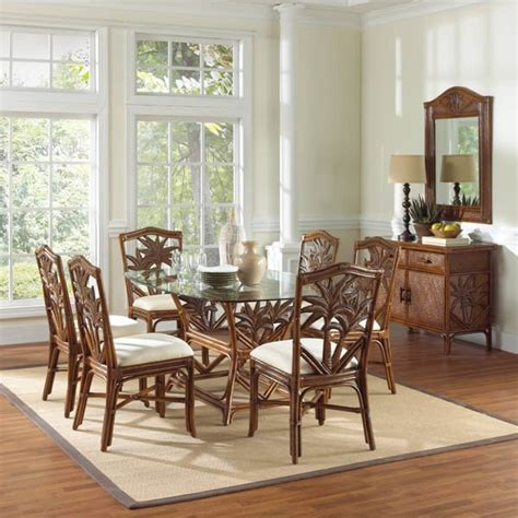 tropical dining room sets cancun palm indoor 7 pc rattan wicker dinin tropical