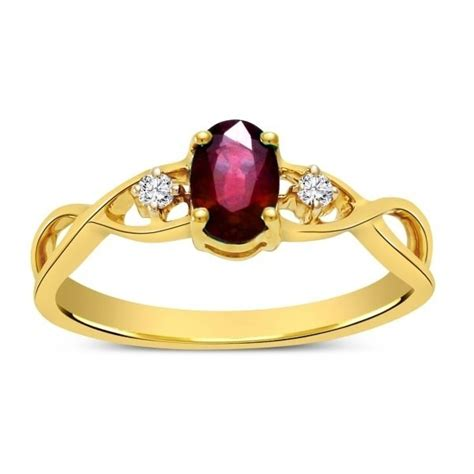 ruby and infinity engagement ring in yellow gold