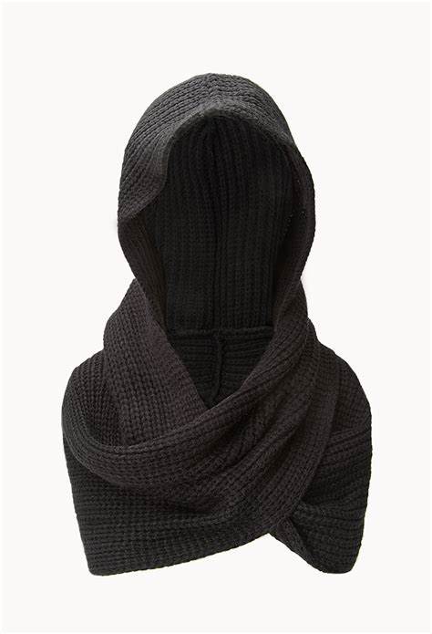 forever 21 hooded scarf in black lyst