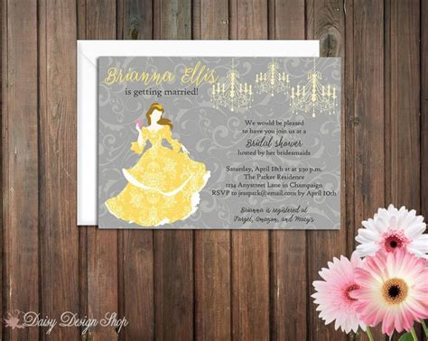 And The Beast Bridal Shower by Bridal Shower Invitation Princess Silhouette With Chandeliers And Damask And