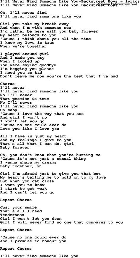 Find Like You Song Lyrics For I Ll Never Find Someone Like You Backstreet Boys
