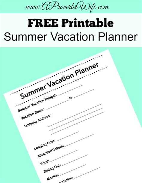 summer holiday planner template free printable summer vacation planner