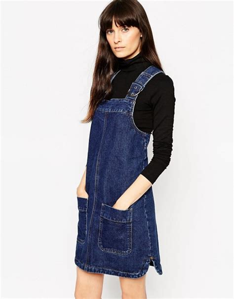 Patched Denim Dress Mango asos asos denim pinafore dress with patch pockets in