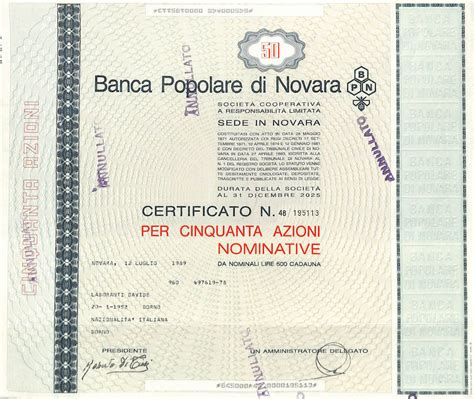 banco popolare titolo popolare di novara titolo finanziario storico