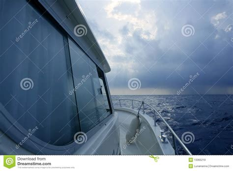 starboard side of boat boat starboard side on a cloudy storm royalty free stock