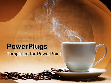 Powerpoint Template A Hot White Cup Of Coffee With Beans On The Side And Brown Background 7549 Coffee Powerpoint Template
