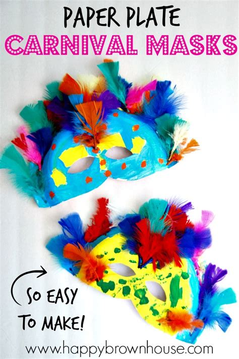 How To Make Mardi Gras Decorations Paper Plate Carnival Masks Happy Brown House