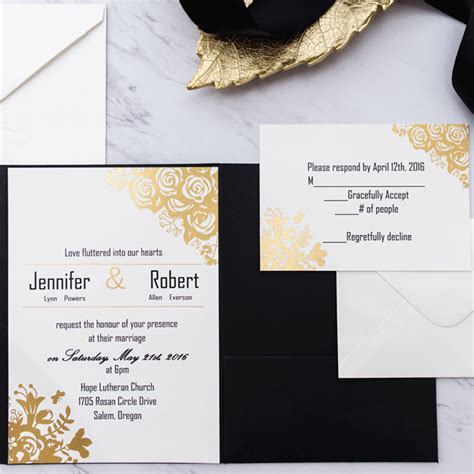 black and gold glitter wedding invitations black and gold glitter pocket wedding invitations ewpi199