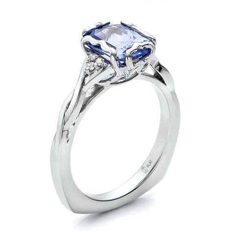custom unique setting blue sapphire engagement ring