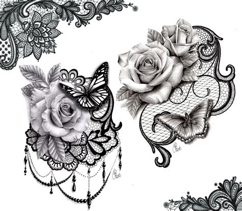 tattoo style rose lace butterfly design ink