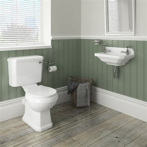 Modern Bathroom Suites Uk - carlton traditional cloakroom suite close couple toilet amp wall hung basin at victorian plumbing uk