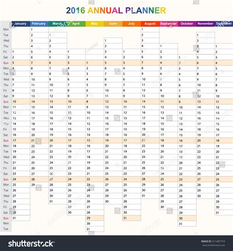 daily planner template for 2016 daily weekly vector 2016 planner calendar stock vector