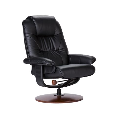Leather Swivel Rocker Recliner With Ottoman by View Larger