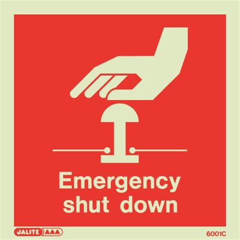 safety signs photoluminescent rigid pvc hospital symbol emergency shut down sign photoluminescent rigid pvc