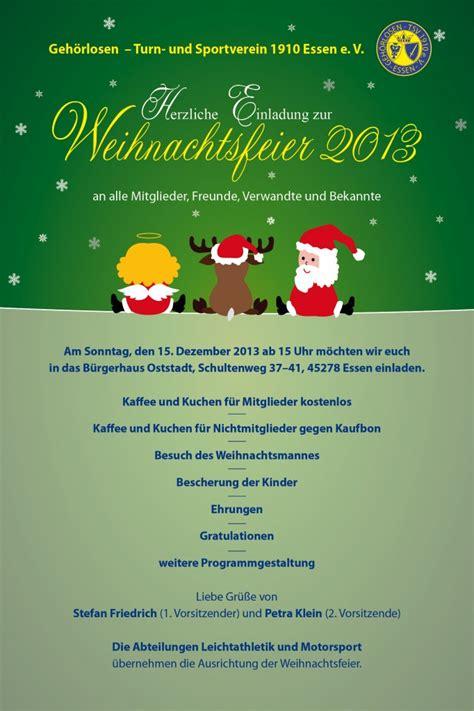 Muster Einladung Jahreshauptversammlung Sportverein Herzliche Einladung Zur Weihnachtsfeier 2013 Geh 246 Rlosen Turn Und Sportverein 1910 Essen E V