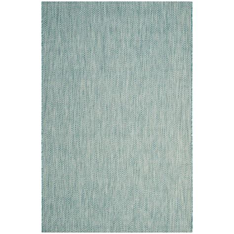 Safavieh Courtyard Aqua Gray 4 Ft X 5 Ft 7 In Indoor Outdoor Rugs Home Depot
