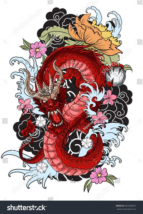 hand drawn dragon tattoo coloring book stock vector