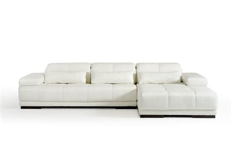 divani casa nowra modern white leather sectional sofa