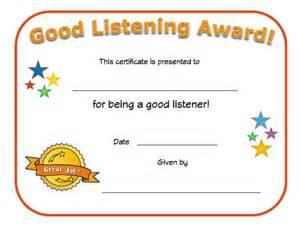 good listener award certificate all kids network