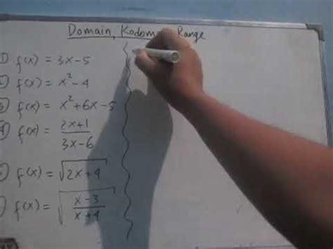 mencari domain kodomain  range fungsi sma youtube