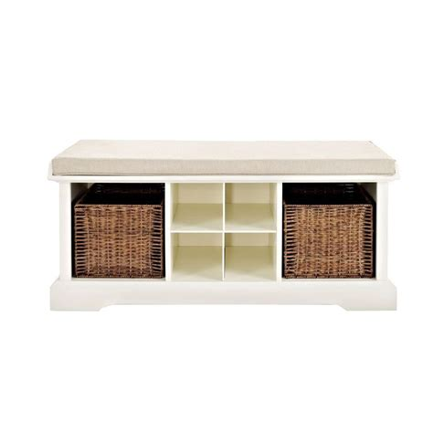 white entryway bench crosley brennan entryway storage bench in white cf6003 wh