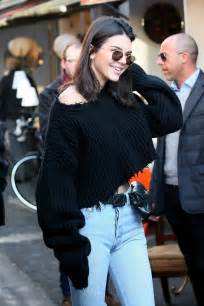 kendall jenner jeans and fish  tights in paris jan 2017 popsugar