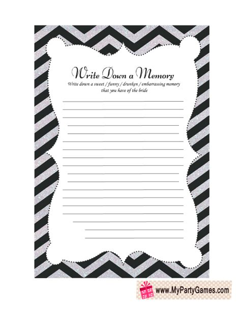 printable memory card template a memory with to be cards