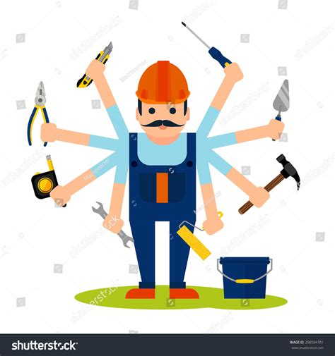 clipart edilizia flat style concept handyman worker 8 stock vector