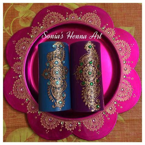 henna design plate hand crafts mehndi unique decor idea henna candle