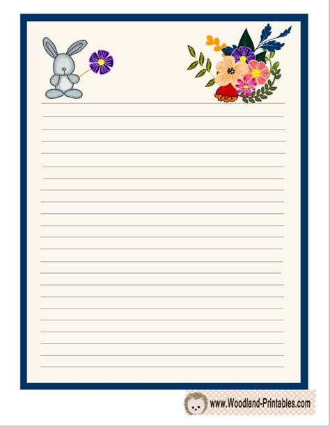 printable animal writing paper cute writing paper with rabbit and flowers free