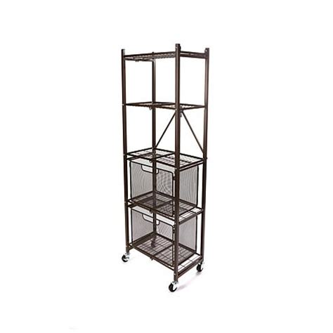 origami organizational rack origami steel folding 2 drawer pantry rack with wheels
