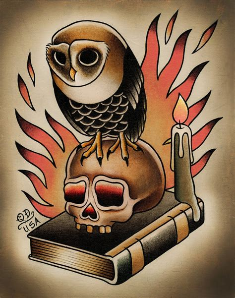 traditional skull tattoo owl and skull traditional print