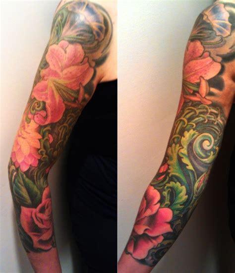 ocean themed tattoo sleeve floral sleeve taste of ink