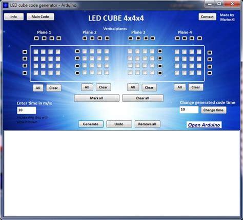 arduino code generator led cube code generator 4x4x4 arduino