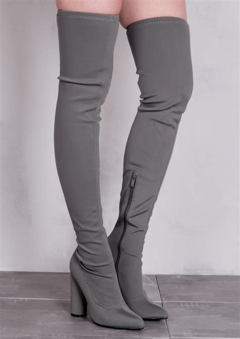 light grey over the knee boots over the knee thigh high long boots in stretchy lycra grey