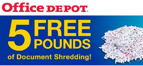office depot coupons nov 2014 free 5 pounds of document shredding at office depot