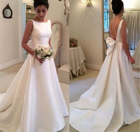 High Neck Simple Backless A Line Satin Wedding Dress With Ribbon Vestidos de Noiva 032 in