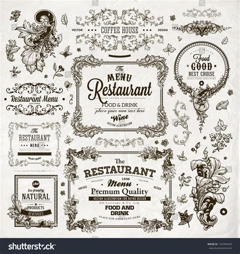design menu vintage retro set labels restaurant menu design stock vector