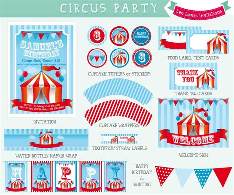 free printable circus party decorations birthday invitations seasonal party invitations cozy