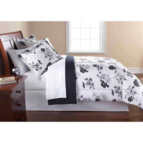 mainstays black and white floral bed in a bag bedding