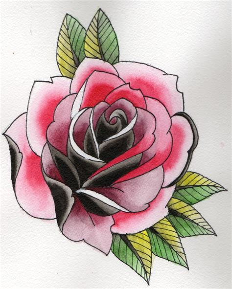 neo traditional rose spit shadding with inks flash