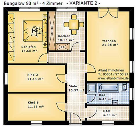 4 Zimmer Bungalow Grundrisse by Bungalow 90 4 Zimmer Einfamilienhaus Neubau Massivbau