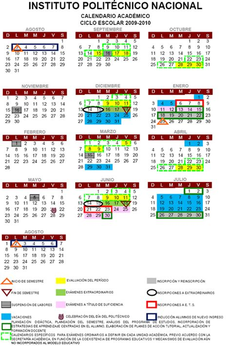 Calendario Ipn Calendarios Escolares 2009 2010 Escolar Mx
