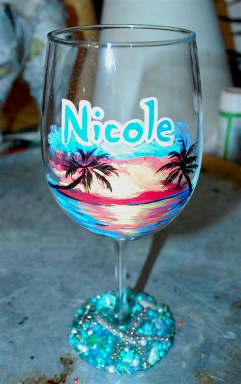 wine glass painting beach landscape hand painted wine glass beaded base