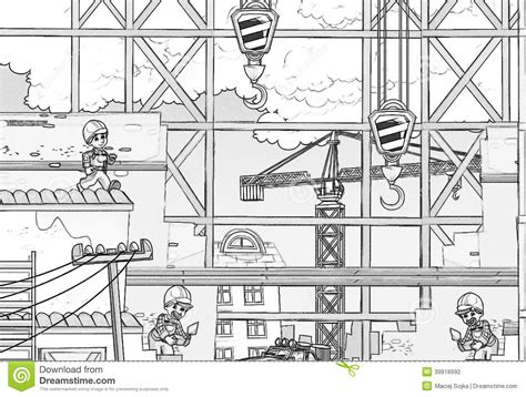 free drawing site construction site coloring page stock illustration