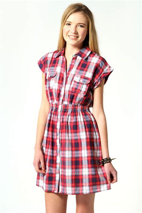 Check Shirt Dress boohoo check shirt dress in navy ebay