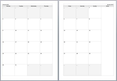 monthly filofax diary templates personal